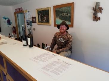 Nathaniel behind the bar.