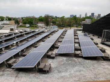 Solar panels and the skyline.